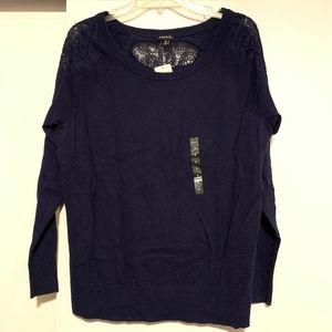 Torrid Lace Shoulder Crewneck Sweater Sz 0 NWT